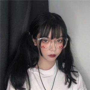 Round Big Transparent Glasses 3 - My Sweet Outfit - EGirl Outfits - Soft Girl Clothes Aesthetic - Grunge Fashion Grime Hip Emo Rap Trap