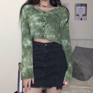 Short Thin Knit All Match Tie Dye Cardigan 2 - My Sweet Outfit - EGirl Outfits - Soft Girl Clothes Aesthetic - Grunge Fashion Tumblr Hip Emo Rap Trap