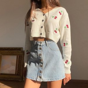 Short Thin Knit Cherry Jacket Cardigan 3 - My Sweet Outfit - EGirl Outfits - Soft Girl Clothes Aesthetic - Grunge Fashion Grime Hip Emo Rap Trap
