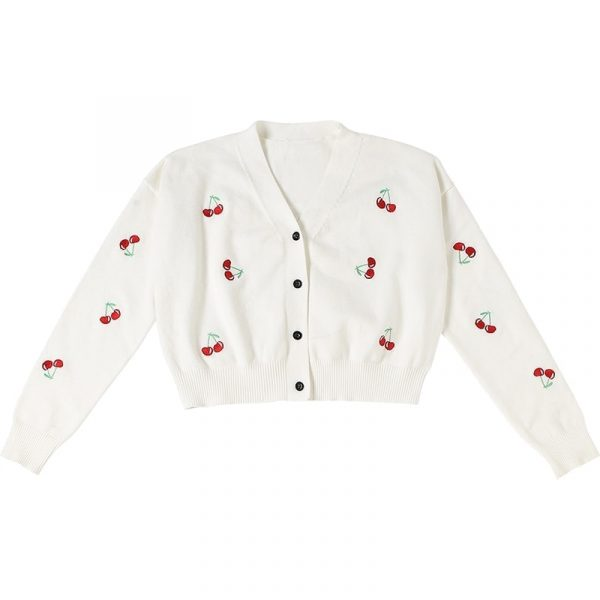 Short Thin Knit Cherry Jacket Cardigan 4 - My Sweet Outfit - EGirl Outfits - Soft Girl Clothes Aesthetic - Grunge Fashion Grime Hip Emo Rap Trap