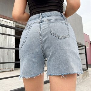 Side Slit Torn Edges Shorts 3 - My Sweet Outfit - EGirl Outfits - Soft Girl Clothes Aesthetic - Grunge Fashion Tumblr Hip Emo Rap Trap
