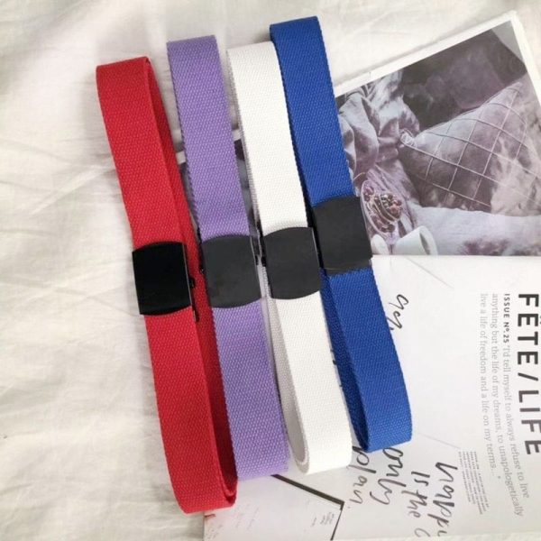 Simple Colorful Canvas Belts 1 - My Sweet Outfit - EGirl Outfits - Soft Girl Clothes Aesthetic - Grunge Fashion Grime Hip Emo Rap Trap