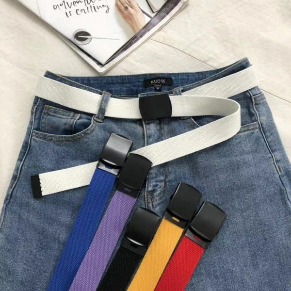 Simple Colorful Canvas Belts 2 - My Sweet Outfit - EGirl Outfits - Soft Girl Clothes Aesthetic - Grunge Fashion Grime Hip Emo Rap Trap