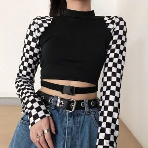 Ska Check Slim Stretch Top 3 - My Sweet Outfit - EGirl Outfits - Soft Girl Clothes Aesthetic - Grunge Fashion Grime Hip Emo Rap Trap