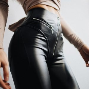 Skinny Leather Imitation Black Zipper Leggings 1 - My Sweet Outfit - EGirl Outfits - Soft Girl Clothes Aesthetic