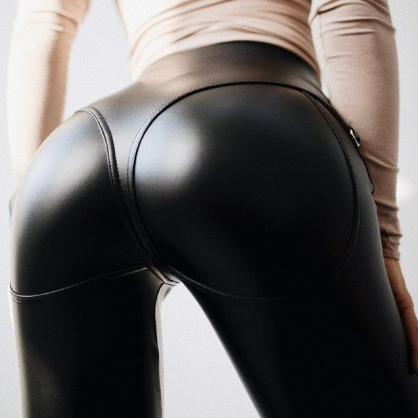 Skinny Leather Imitation Black Zipper Leggings 2 - My Sweet Outfit - EGirl Outfits - Soft Girl Clothes Aesthetic