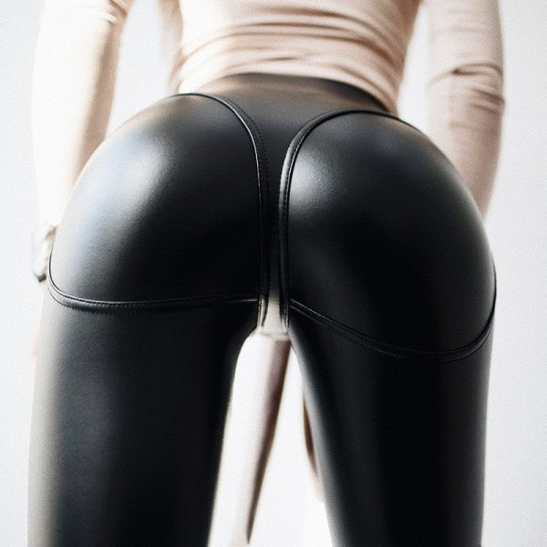 Skinny Leather Imitation Black Zipper Leggings 3 - My Sweet Outfit - EGirl Outfits - Soft Girl Clothes Aesthetic