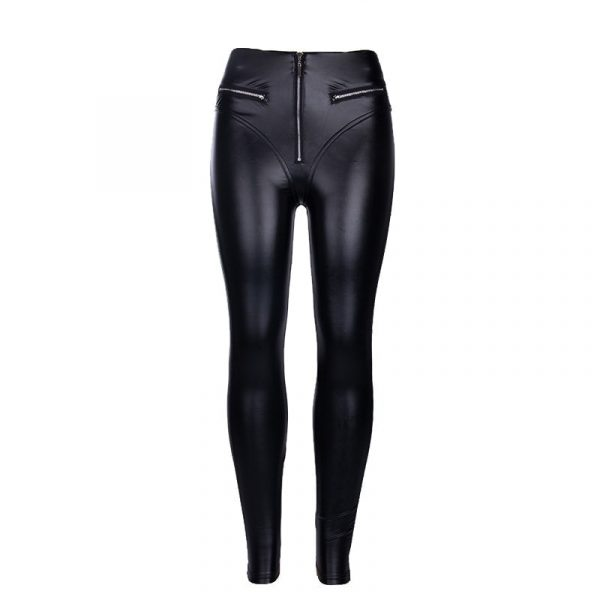 Skinny Leather Imitation Black Zipper Leggings 5 - My Sweet Outfit - EGirl Outfits - Soft Girl Clothes Aesthetic