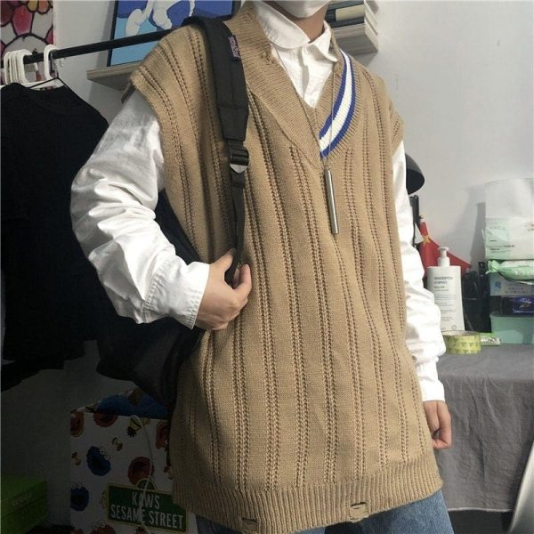 Sleeveless Stripe Collar Sweater 1 - My Sweet Outfit - EGirl Outfits - Soft Girl Clothes Aesthetic - Grunge Fashion Tumblr Hip Emo Rap Trap