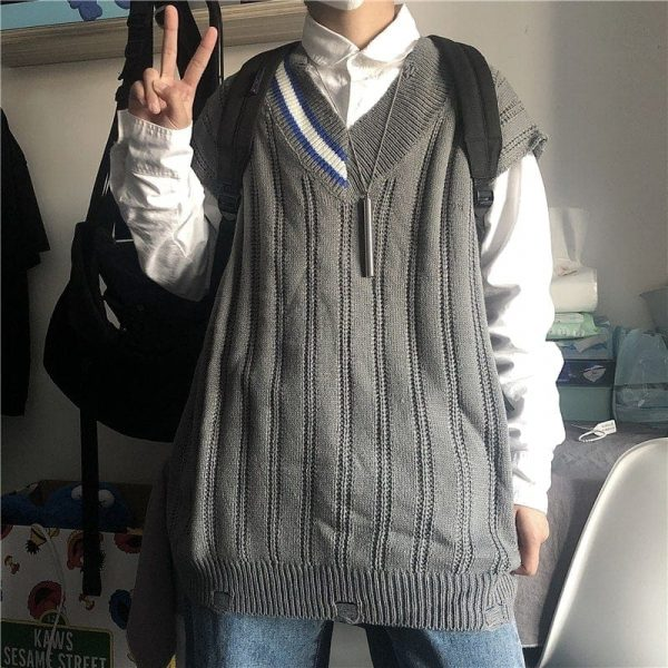 Sleeveless Stripe Collar Sweater 2 - My Sweet Outfit - EGirl Outfits - Soft Girl Clothes Aesthetic - Grunge Fashion Tumblr Hip Emo Rap Trap