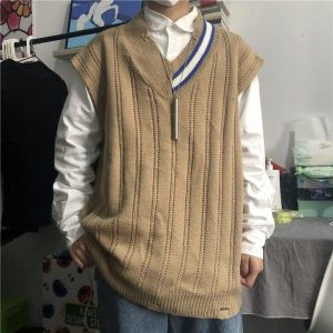 Sleeveless Stripe Collar Sweater 4 - My Sweet Outfit - EGirl Outfits - Soft Girl Clothes Aesthetic - Grunge Fashion Tumblr Hip Emo Rap Trap