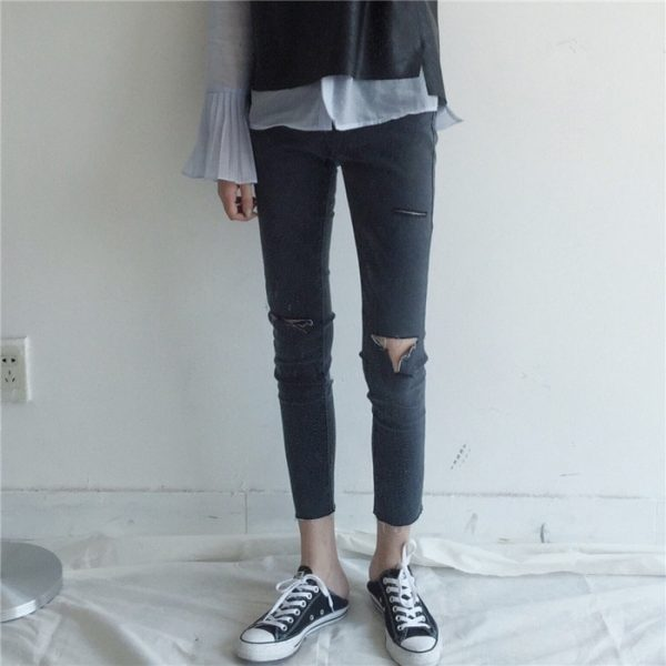 Slim Casual Ripped Jeans 1 - My Sweet Outfit - EGirl Outfits - Soft Girl Clothes Aesthetic