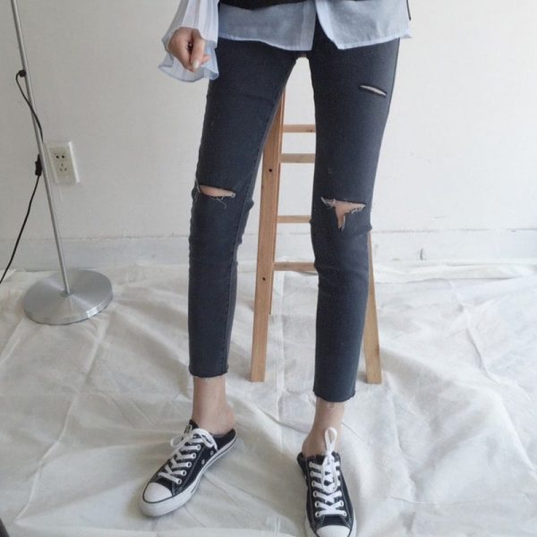 Slim Casual Ripped Jeans 3 - My Sweet Outfit - EGirl Outfits - Soft Girl Clothes Aesthetic
