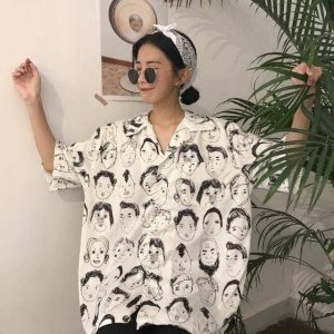 Soft Girl Graffiti Printed Short Sleeve Shirt 1 - My Sweet Outfit - EGirl Outfits - Soft Girl Clothes Aesthetic - Grunge Fashion Grime Hip Emo Rap Trap