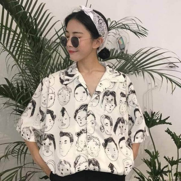 Soft Girl Graffiti Printed Short Sleeve Shirt 3 - My Sweet Outfit - EGirl Outfits - Soft Girl Clothes Aesthetic - Grunge Fashion Grime Hip Emo Rap Trap