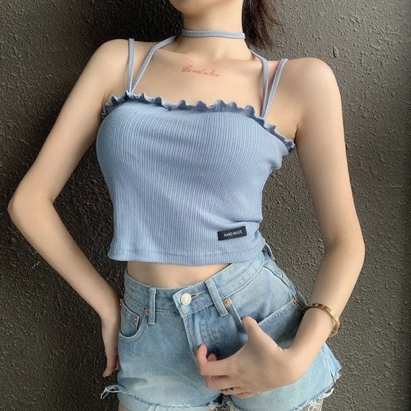 Soft Girl Halter Neck Sling Thin Crop Top 1 - My Sweet Outfit - EGirl Outfits - Soft Girl Clothes Aesthetic - Grunge Fashion Tumblr Hip Emo Rap Trap