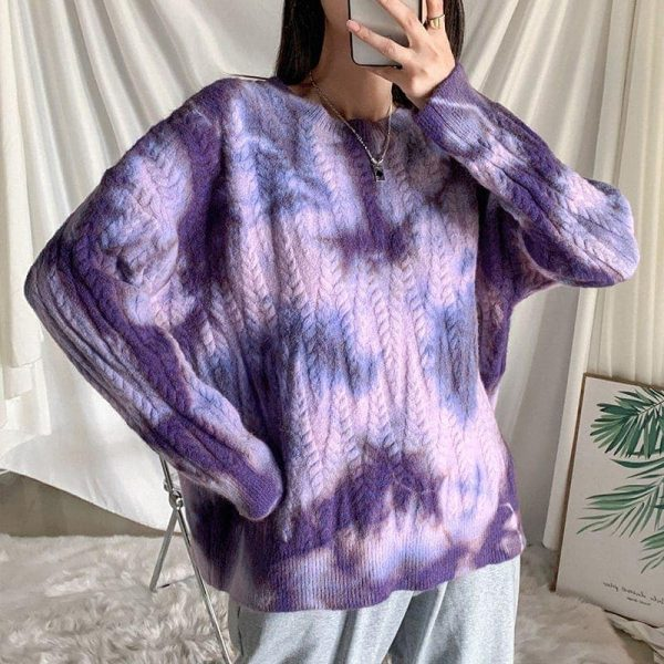 Soft Girl Loose Tie Dye Pullover Sweater 1 - My Sweet Outfit - EGirl Outfits - Soft Girl Clothes Aesthetic - Grunge Fashion Grime Hip Emo Rap Trapa
