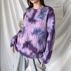 Soft Girl Loose Tie Dye Pullover Sweater 2 - My Sweet Outfit - EGirl Outfits - Soft Girl Clothes Aesthetic - Grunge Fashion Grime Hip Emo Rap Trapa