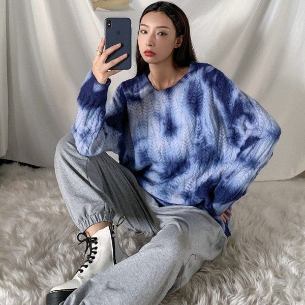 Soft Girl Loose Tie Dye Pullover Sweater 3 - My Sweet Outfit - EGirl Outfits - Soft Girl Clothes Aesthetic - Grunge Fashion Grime Hip Emo Rap Trapa
