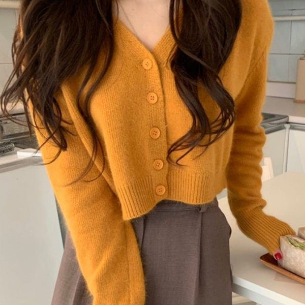 Soft Orange V-Neck Sweater With Buttons 1 - My Sweet Outfit - EGirl Outfits - Soft Girl Clothes Aesthetic - Grunge Fashion Grime Hip Emo Rap Trap
