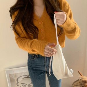 Soft Orange V-Neck Sweater With Buttons 2 - My Sweet Outfit - EGirl Outfits - Soft Girl Clothes Aesthetic - Grunge Fashion Grime Hip Emo Rap Trap