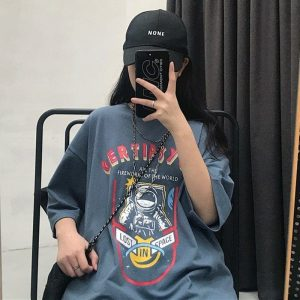 Space Astronaut Print Oversized T-shirt 1 - My Sweet Outfit - EGirl Outfits - Soft Girl Clothes Aesthetic - Grunge Fashion Grime Hip Emo Rap Trap