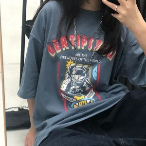 Space Astronaut Print Oversized T-shirt 3 - My Sweet Outfit - EGirl Outfits - Soft Girl Clothes Aesthetic - Grunge Fashion Grime Hip Emo Rap Trap
