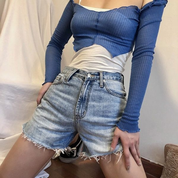 Split Ends Hot Denim Shorts 1 - My Sweet Outfit - EGirl Outfits - Soft Girl Clothes Aesthetic
