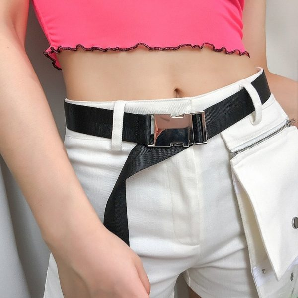 Sports Black Belt With Automatic Buckle 1 - My Sweet Outfit - EGirl Outfits - Soft Girl Clothes Aesthetic - Grunge Fashion Grime Hip Emo Rap Trap