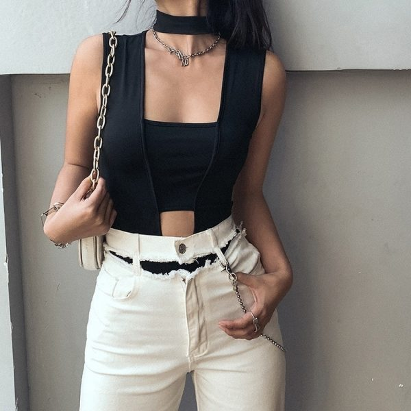 Square-Neck Black Bodysuit 3 - My Sweet Outfit - EGirl Outfits - Soft Girl Clothes Aesthetic