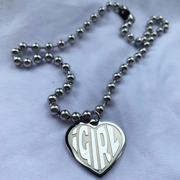 Stainless Steel IGIRL Necklace Heart 2 - My Sweet Outfit - EGirl Outfits - Soft Girl Clothes Aesthetic