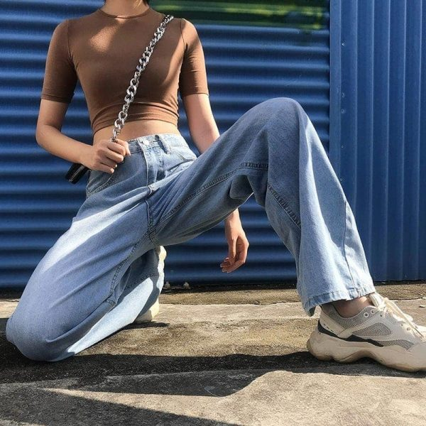 Straight Wide Leg Drape Long Jeans 3 - My Sweet Outfit - EGirl Outfits - Soft Girl Clothes Aesthetic - Grunge Fashion Tumblr Hip Emo Rap Trap