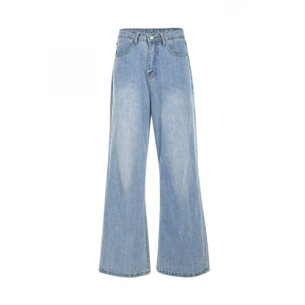 Straight Wide Leg Drape Long Jeans 4 - My Sweet Outfit - EGirl Outfits - Soft Girl Clothes Aesthetic - Grunge Fashion Tumblr Hip Emo Rap Trap