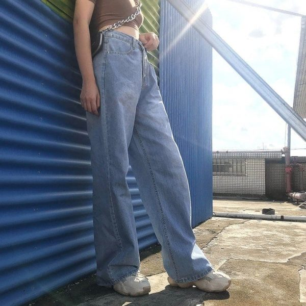 Straight Wide Leg Drape Long Jeans 5 - My Sweet Outfit - EGirl Outfits - Soft Girl Clothes Aesthetic - Grunge Fashion Tumblr Hip Emo Rap Trap