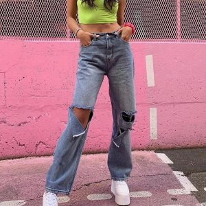 Street Style Ripped Straight Jeans 2 - My Sweet Outfit - EGirl Outfits - Soft Girl Clothes Aesthetic - Grunge Fashion Tumblr Hip Emo Rap Trap