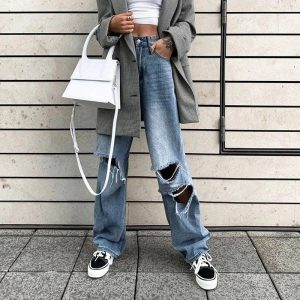 Street Style Ripped Straight Jeans 3 - My Sweet Outfit - EGirl Outfits - Soft Girl Clothes Aesthetic - Grunge Fashion Tumblr Hip Emo Rap Trap