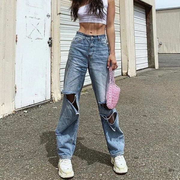 Street Style Ripped Straight Jeans 4 - My Sweet Outfit - EGirl Outfits - Soft Girl Clothes Aesthetic - Grunge Fashion Tumblr Hip Emo Rap Trap