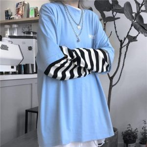 Stripe Fake Long Sleeve Loose Sweatshirt 3 - My Sweet Outfit - EGirl Outfits - Soft Girl Clothes Aesthetic - Grunge Fashion Tumblr Hip Emo Rap Trap