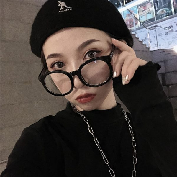Thick Round Glasses With Clear Lenses 2 - My Sweet Outfit - EGirl Outfits - Soft Girl Clothes Aesthetic - Grunge Fashion Grime Hip Emo Rap Trap
