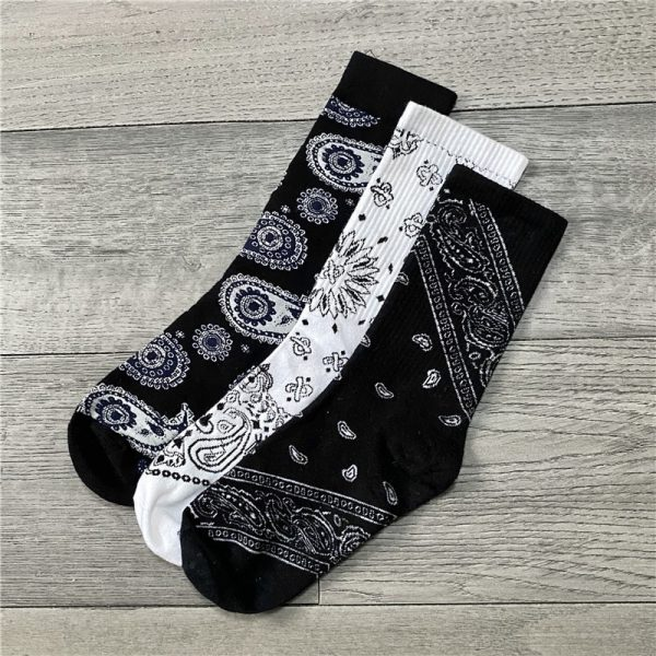 Three Pair Cashew Flower Retro Socks 1 - My Sweet Outfit - EGirl Outfits - Soft Girl Clothes Aesthetic - Grunge Fashion Grime Hip Emo Rap Trap (3)