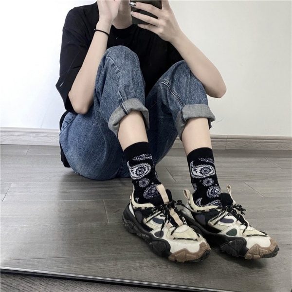 Three Pair Cashew Flower Retro Socks 1 - My Sweet Outfit - EGirl Outfits - Soft Girl Clothes Aesthetic - Grunge Fashion Grime Hip Emo Rap Trap (4)