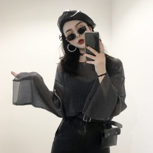 Translucent Chiffon Blouse And Camisole 2 - My Sweet Outfit - EGirl Outfits - Soft Girl Clothes Aesthetic - Grunge Fashion Tumblr Hip Emo Rap Trap