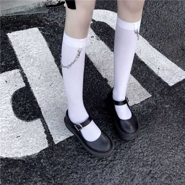 Trendy Knee-Length Socks With Chain 3 - My Sweet Outfit - EGirl Outfits - Soft Girl Clothes Aesthetic
