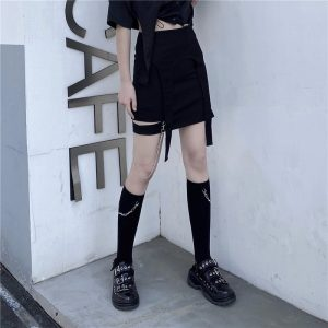 Trendy Knee-Length Socks With Chain 4 - My Sweet Outfit - EGirl Outfits - Soft Girl Clothes Aesthetic