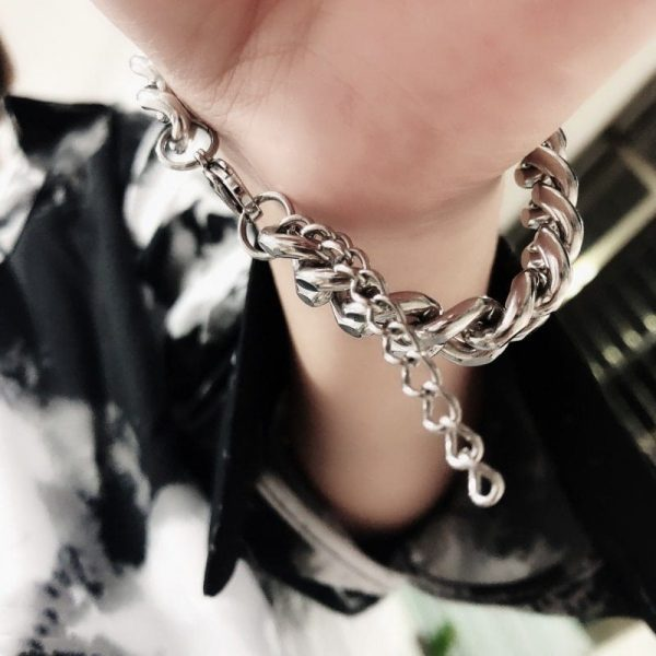 Trendy Thick Chain Bracelet 2 Trendy Thick Chain Bracelet 1 - My Sweet Outfit - EGirl Outfits - Soft Girl Clothes Aesthetic - Grunge Fashion Grime Hip Emo Rap Trap