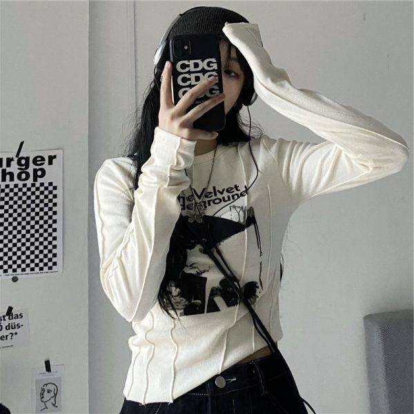 Trendy Velvet Underground Sweatshirt 1 - My Sweet Outfit - EGirl Outfits - Soft Girl Clothes Aesthetic - Grunge Fashion Tumblr Hip Emo Rap Trap