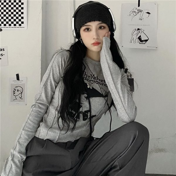 Trendy Velvet Underground Sweatshirt 2 - My Sweet Outfit - EGirl Outfits - Soft Girl Clothes Aesthetic - Grunge Fashion Tumblr Hip Emo Rap Trap