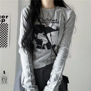 Trendy Velvet Underground Sweatshirt 3 - My Sweet Outfit - EGirl Outfits - Soft Girl Clothes Aesthetic - Grunge Fashion Tumblr Hip Emo Rap Trap