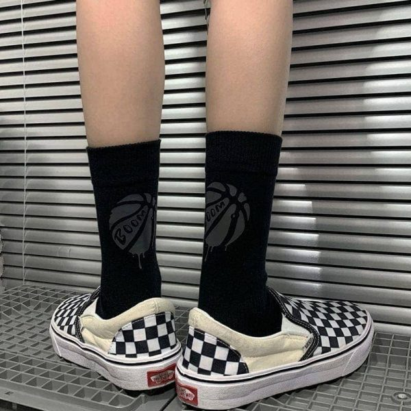 Two Pairs Of Reflective Ball Print Socks 1 - My Sweet Outfit - EGirl Outfits - Soft Girl Clothes Aesthetic - Grunge Fashion Grime Hip Emo Rap Trap