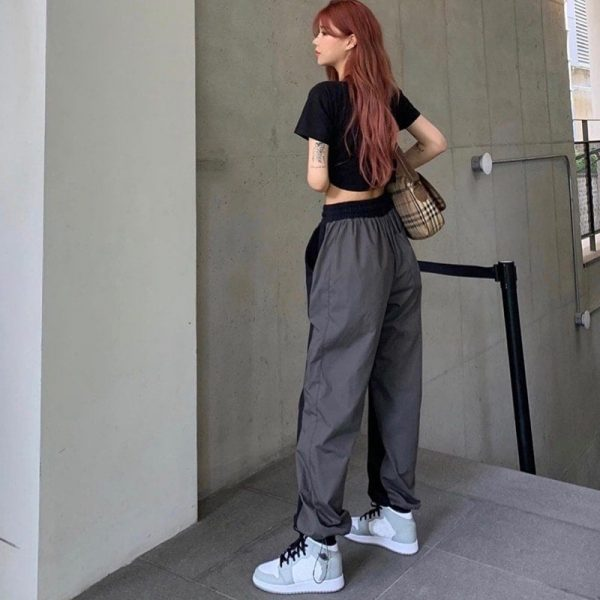 Two Tone Rap Aesthetic Sweatpants 2 - My Sweet Outfit - EGirl Outfits - Soft Girl Clothes Aesthetic - Grunge Fashion Grime Hip Emo Rap Trap